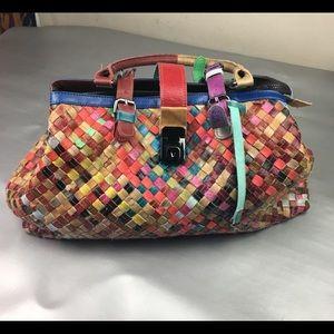 Handbags - Multi colored woven leather satchel bag/ purse